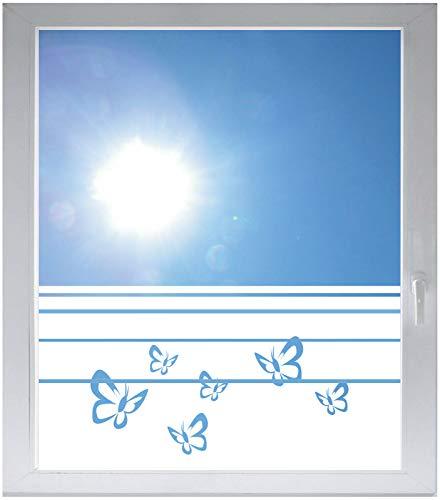 INDIGOS UG Sichtschutzfolie Glasdekorfolie Fensterfolie mit Motiv satiniert Blickdicht - w184 Schmetterlinge - 1000 mm Länge - 500 mm Höhe Streifen - Satiniert Mit Streifen
