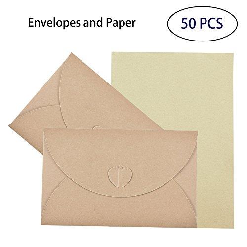 50 PCS Vintage Umschläge mit Blanko Kraftpapier, Hotipine Schöne Verschluss im Herz-Design Briefumschläge für Einladungskarten, Gruß karten, Weihnachtsgrüße an Familie, Freunde (174Mm X 109Mm) Wort Familie Karten