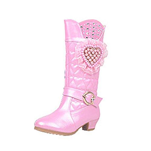 Zhuhaitf Excellent Cute Girls Stylish High Heel Boots Kids Winter Warm Zipper Shoes 5663 pink