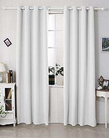 EUGAD #329 Gardine Vorhang blickdicht , Verdunkelungsvorhang Thermovorhang,Vorhänge mit Ösen , schwere Ösenschal Verdunkelungsgardine , 135x225cm , Grau-Weiss