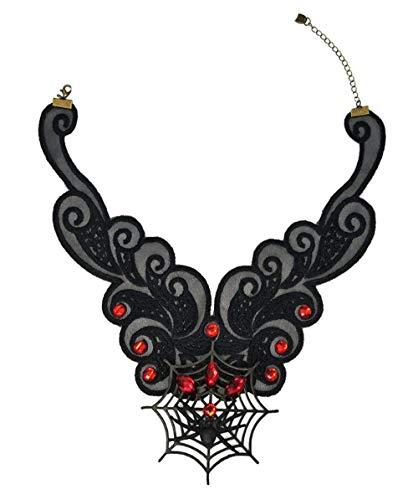 Halloween-Schädel Gotisch Black Spitzen Halskette Schmuck Tattoo Choker Lolita Damen Schlüsselbein Halskette Maedchen Halloween-Kostüm Party Halskette,D (Cool Tween Kostüm)