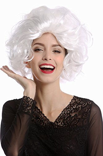 WIG ME UP - 1353-P68 Perücke Damen Karneval Halloween Diva Hollywood kurz lockig wellig wild toupiert weiß weißblond (Für Halloween Hollywood Events)
