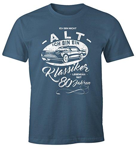 MoonWorks Herren Geschenk T-Shirt zum Geburtstag Ich Bin Nicht Alt Ich Bin Ein Klassiker Auto Retro Oldtimer Spruch 30-90 Jahre 80 Denim L