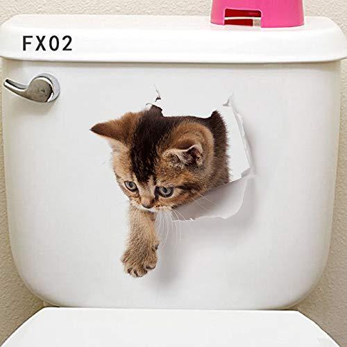 Hund Hamster 3D Wandaufkleber Bad Wc Wohnzimmer Küche Dekorationen Tier PVC Abziehbilder Kunst Aufkleber Poster a3 45x67.5cm ()