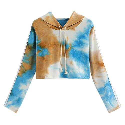 QUINTRA Frauen gedruckt abgeschnitten Kapuzen Sweatshirt Langarm Brief Tie Dye Pullover Tops Bluse - Für Frauen Tie-dye-sweatshirt