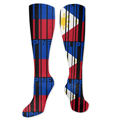 Philippines Flag Word Knee High Sport Compression Long Stockings for Baseball Sport
