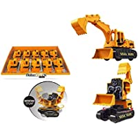 Adichai 2 in 1 Transformer Stunt Road Truck Push and Go Friction Powered Construction Site 360 Degree Rotating Excavator…