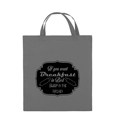 Comedy Bags - If you want Breakfast in Bed - KITCHEN - Jutebeutel - kurze Henkel - 38x42cm - Farbe: Schwarz / Pink Dunkelgrau / Schwarz