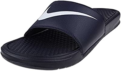 Nike Benassi Swoosh Sandals Sport Black 3312618 416 Pool Shoes blue