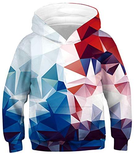 Ocean Plus Jungen Kapuzenpullover Bunt Teens Hoodie Kinder Langarm Pulli mit Kapuzen Sweatshirt Pullover (M (Körpergröße: 125-145cm), Rote und Blaue Geometrie)