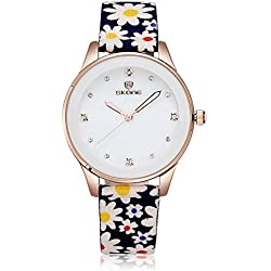Skone Women Dress Watches Fabric Band Quartz Watches Rhinestones Rose Gold Case,Blue