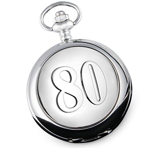De Walden - Reloj de bolsillo para regalar a hombres en su 80 cumpleaños, con caja de regalo forrada de satén en la parte delantera