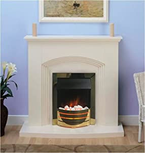 Modern Cream Electric Fire Surround Set Complete Fireplace Package Suite