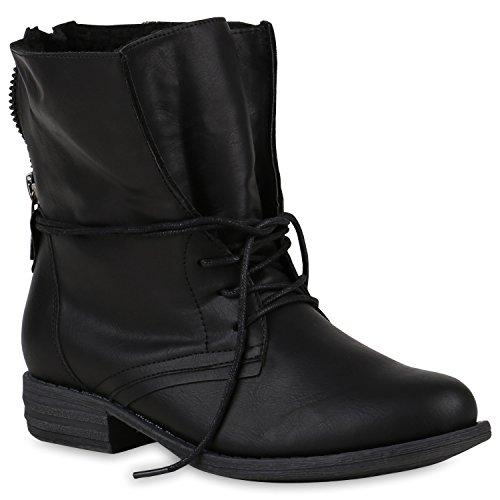 Stiefelparadies Damen Stiefeletten Schnürstiefeletten Warm Gefütterte Stiefel Glitzer Winter Boots Zipper 147851 Schwarz Avelar 39 Flandell