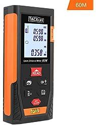Tacklife HD 60 Klassischer Laser-Entfernungsmesser Distanzmessgerät(Messbreich 0,05~60m/±2mm mit 2 Level Blasen Entfernungsmesser Min / in / ft mit Hintergrundbeleuchtung) Schwarz-Orange