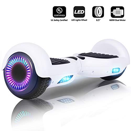 Sumwell Hoverboard Self Balancing Scooter,Intelligentes Balance Hover Board, Elektroroller mit LED-Licht,Dual 300W Motor,Tragetasche, EU-Ladeadapter,UL 2272 Zertifiziert,6.5 Zoll Blink Rad,Weiß