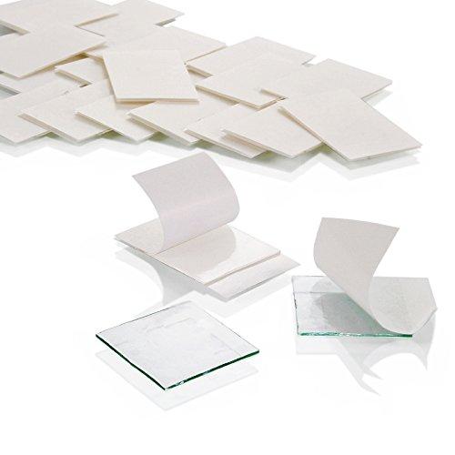 Montagepads aus Reinacrylat | Doppelseitig stark klebend & ablösbar | Menge wählbar | Hochtransparent | 19 mm x 19 mm x 0,5 mm | Montagepads für Glas, Kunststoff, Holz, Metall, Papier etc./10 Stück (Holz-spalte)