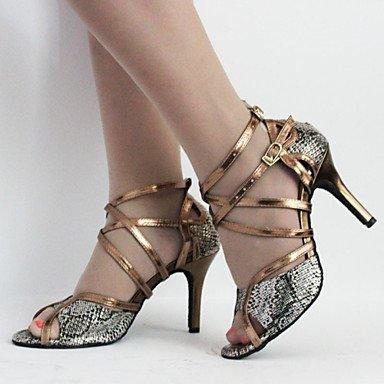 Silence @ pour femme Chaussures de danse latine en similicuir Stiletto Talon Chocolat bronze