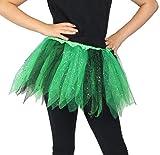 Foxxeo Tütü Tutu grün schwarz mit Glitzer für Kinder Fee Ballett Party Rock Tänzerin ca. 30cm