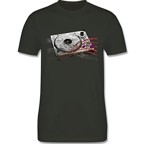 Music - Turntable - L190 Herren Premium Rundhals T-Shirt Army Grün