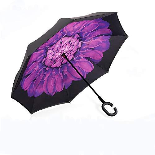 Parapluie Inversé,Parapluie Canne,Double Couche Coupe-Vent, Mains Libres poignée en forme C, Idéal pour Voiture et Voyage(violettes)