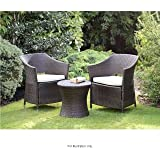 Venice Rattan Effect 3 piece Armchair Bistro Set with cushions
