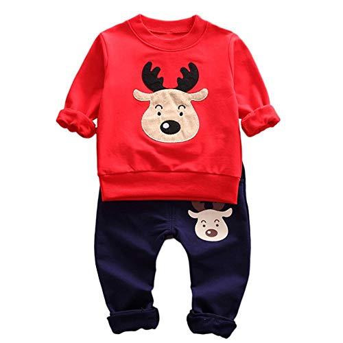 Riou Weihnachten Baby Kleidung Set Kinder Pullover Pyjama Outfits Set Familie Kleinkind Baby Mädchen Jungen Rotwild Oberseiten Hosen Ausstattungs Satz (90, Rot)