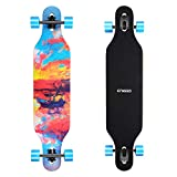 ENKEEO Longboard 9 Strati di Acero Flessibile Skateboard Drop Through 104cm Cuscinetti ABEC-11 per Carving Downhill Cruising Freestyle Riding,