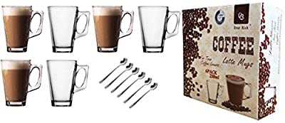 EVER RICH ® 240ML LATTE GLASS TEA COFFEE CUP MUG (Fits Tassimo & Dolce Gusto) SET of 6 Glasses (6 glasses with spoons)
