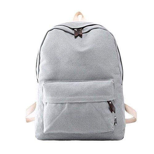 Saingace Frauen-Segeltuch-Schule-Beutel-Mädchen-Rucksack-Spielraum Freizeitrucksack Tasche Rucksäcke Grau