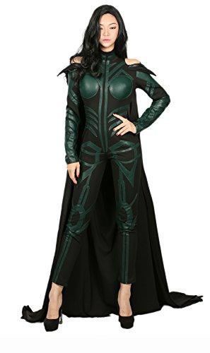 Loki Damen Kostüm - Xcoser Halloween Hela Kostüm Frauen Overall PU Outfit Anzug mit Robe für Erwachsene Verrücktes Kleid Kleidung Merchandise Zubehör (Medium)