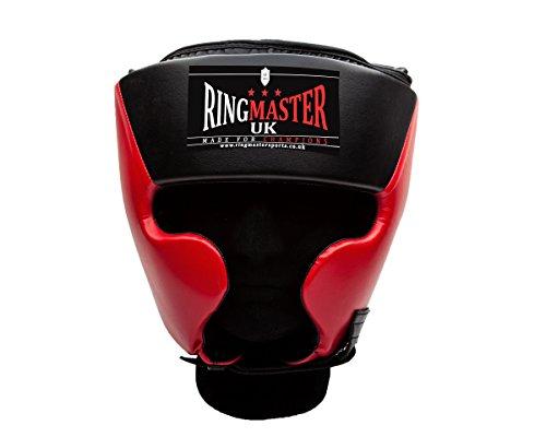 Ringmaster UK Casco Protector para Boxeo Piel Sintética, Color Negro y Rojo, Hombre Mujer, Negro/Rojo...
