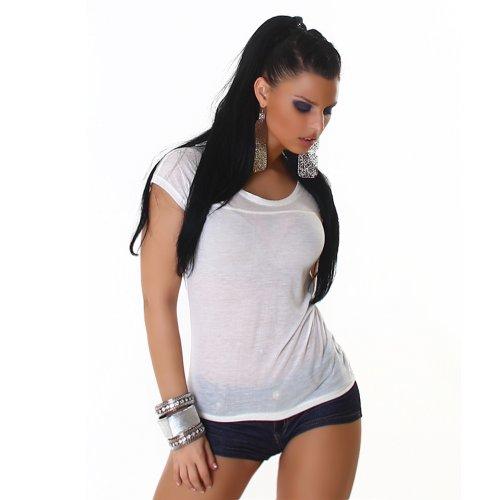 Sexy Top shirt girocollo One Size 36,38,40,42 diversi colori Bianco