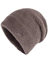Sunonip Mujeres Sombreros De Invierno Moda Conejo Terciopelo Hecho Punto  como Sombrero De Piel De Visón bb037b82717