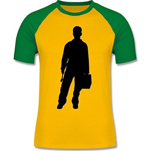 Handwerk - Installateur - zweifarbiges Baseballshirt für Männer Gelb/Grün