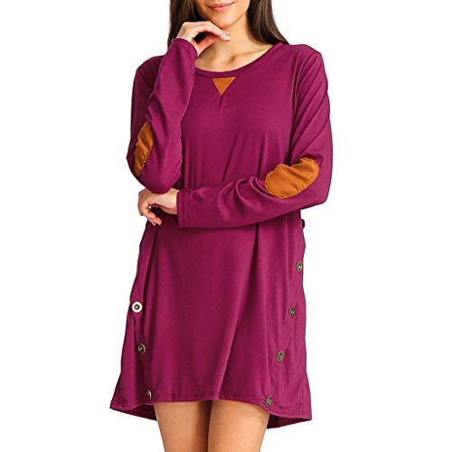 IZHH Damen Kleider Casual Button Side Tops Einfarbig Oansatz Tunika Langarm Rundhals Minikleid Party Club Täglich Outdoor Dating Kleid(Hot Pink,Small)