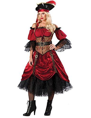 Piraten Königin Damen Kostüm rot schwarz (Schwarze Piraten Königin Kostüm)