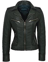 YYZYY Damen Hohe Qualität Cool Modisch Punk Nieten Kunst LederDenim Jacke Motorrad Biker Voller Reißverschluss Slim Fit Jacken