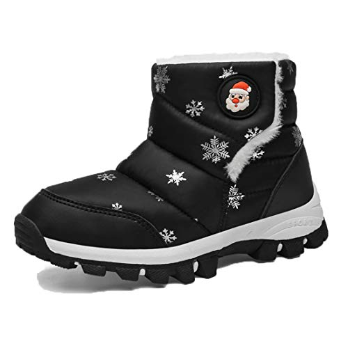 Gaatpot Girls Booties Waterproof Boys Ankle Boots Anti Slip Short Snow Boots Warm Winter Shoes Fur Lined Size 6 Child - 3 UK