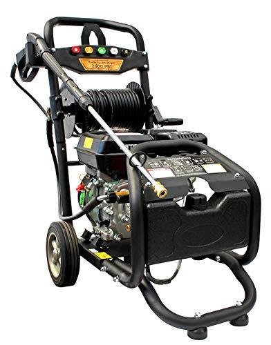 Benzin Hochdruckreiniger mit Schlauchtrommel | max. 220 bar - 3200 PSI | 7 PS Motor mit 210 ccm | Reinigungsmaschine mit 5 Düsen