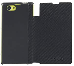 Sony Executive Flip Book Case Cover with Credit Card Slot for Xperia Z1 Compact by Made for Xperia - Carbon Fibre Black