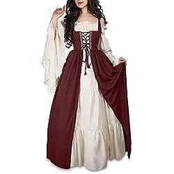Guiran Vestido Vintage Mujer Medievales Disfraz Renacentista Cosplay de Halloween Rojo S