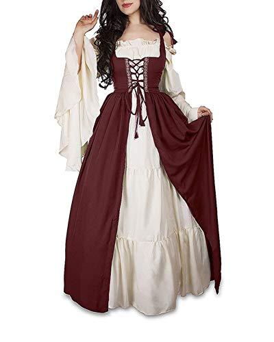 Guiran Damen Mittelalterliche Kleid mit Trompetenärmel Mittelalter Party Kostüm Maxikleid rot 4XL (Prinzessin Mittelalterliche Kostüm Mädchen)