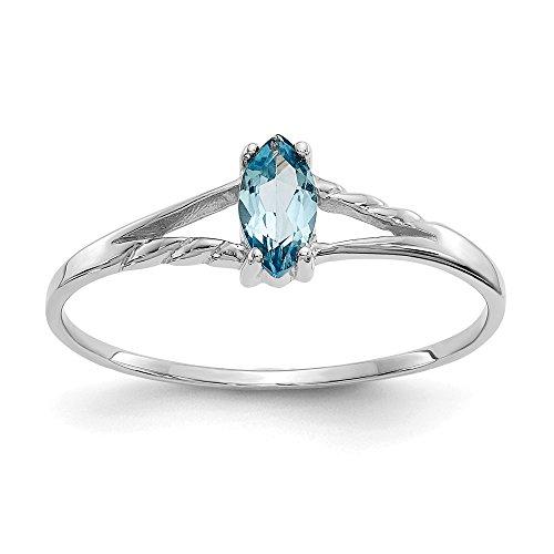 10 K Weißgold, Mit Echtem Blauem Topas Birthstone Ring-Größe L 1/2 (Höherer Feingehalt Als Gold mit 9 Karat Gold (10k Birthstone Ring)