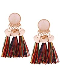 MODA - Beautiful And Stylish Faux Gem Leaf Disc Tassel Earrings for Girls & Women