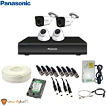 Panasonic 2 MP CCTV Camera Kit of 2 Dome and 2 Bullet, 1TB Hard Disk, Power Supply, 4 CH DVR, 90 m Cable with Connectors (White)