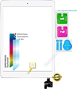 Komplett? Touchscreen Glas Digitizer für Apple iPad Mini 1st Generation, iPad Mini 2 Display, Komplett mit Flexkabel, IC-Chip und Homebutton - Weiß inkl. 3-teiliges Reinigungsset - WEIß WHITE- NEU