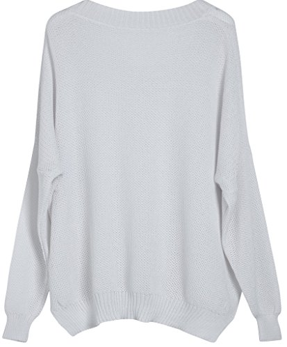 Vogueearth Fashion Hot Femme's V-Neck Loose Knit Mesh Jumper Sweater Chandail Tricots Pullover Top Blanc