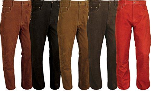 Pantaloni in pelle boocut Pantaloni da donna in pelle per uomo, pantaloni in pelle per donna Molletta Moto, Moto, Bicicletta, equitazione, caccia, Marrone Nero/Rosso/Verde Brown 46