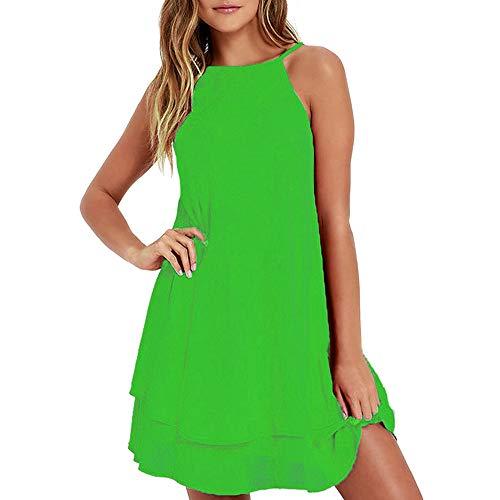 loses Kleid Bodycon Abendkleid Kurzes Minikleid Neckholder Lace Panel Chiffon-Kleid (S, Grün 5) ()